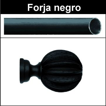 Barra negro de forja para cortina 19 Gajos