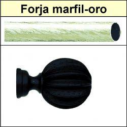 Barra negro de forja para cortina 30 Gajos