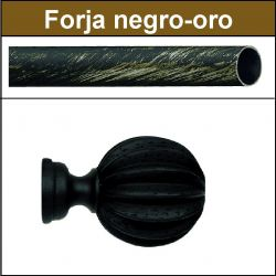 Barra negro oro de forja para cortina 30 Gajos