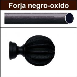 Barra negro oxido de forja para cortina 30 Gajos