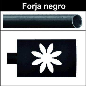 Barra negro de forja para cortina 19 Estrella
