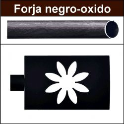 Barra negro oxido de forja para cortina 19/19 Estrella