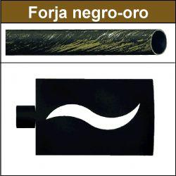 Barra negro oro de forja para cortina 19 Onda