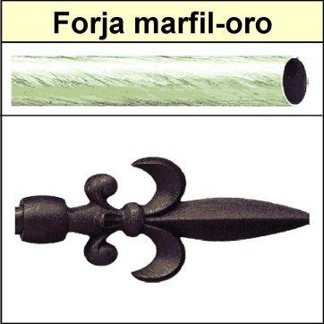 Barra para cortinas forja 30/19 Flor de Lys marfil oro