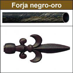 Barra para cortinas forja 19/19 Flor de Lys negro oro
