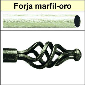 Barra para cortinas forja 19/19 Trenza marfil oro
