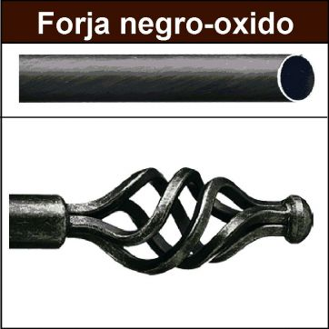 Barra para cortinas forja 19/19 Trenza negro oxido