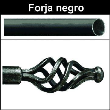 Barra para cortinas forja 19/19 Trenza negro
