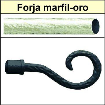 Barra para cortinas forja 19/19 Baculo marfil oro