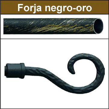 Barra para cortinas forja 19/19 Baculo negro oro