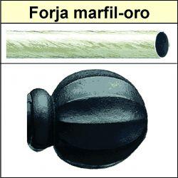 Barra para cortinas forja 19/19 Bola marfil oro