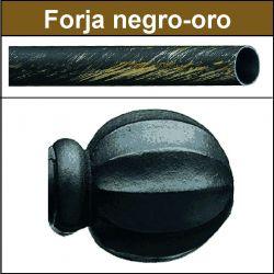 Barra para cortinas forja 19/19 Bola negro oro