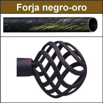 Barra para cortinas forja 19/19 Feria negro oro