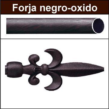 Barra para cortinas forja 19 Flor de Lys negro oxido