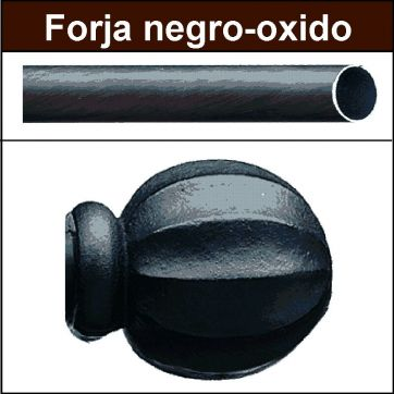Barra para cortinas forja 19 Bola negro oxido