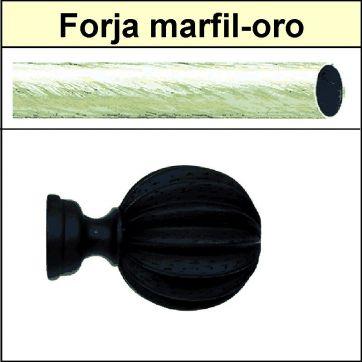 Barra para cortinas Forja 30/19 Gajos marfil oro