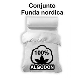 Funda nordica 3 piezas blanco 100% algodón